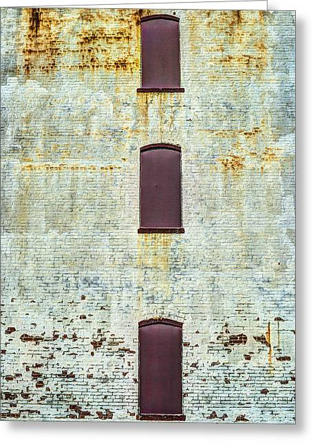 Rectangles Greeting Cards - Three Non Windows On Textured Wall Greeting Card by Gary Slawsky