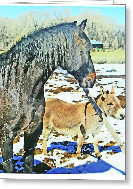 Expressionist Equine Greeting Cards - Three Noses Greeting Card by Lenore Senior