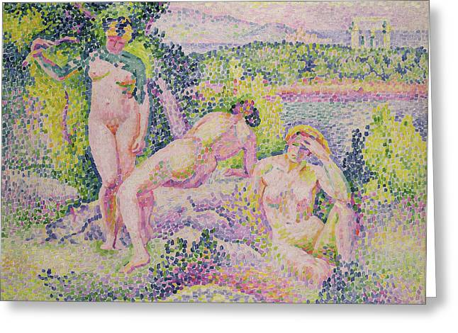Three Nudes Greeting Card by Henri Edmond Cross