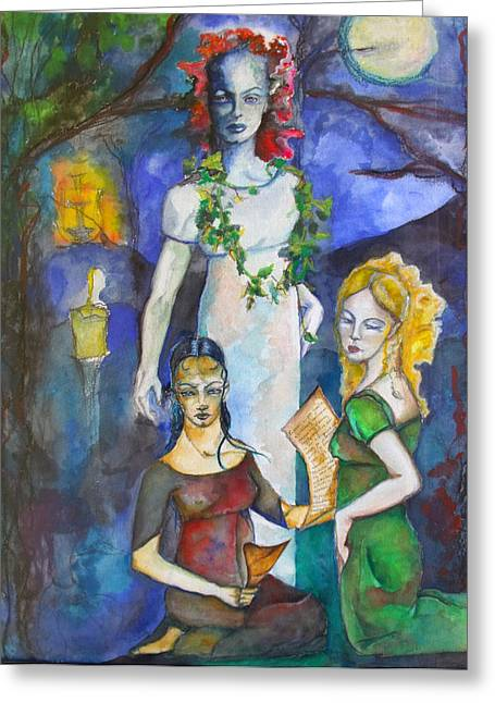 Three Of Cups Greeting Card by Erika Brown