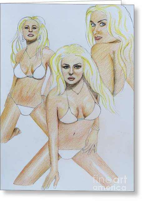 Coloured Greeting Cards - Three Of The Same Greeting Card by Stephen Brooks