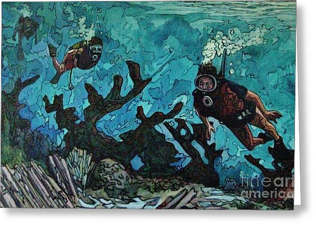 Stainglass Greeting Cards - Three on a Reef Greeting Card by John Malone