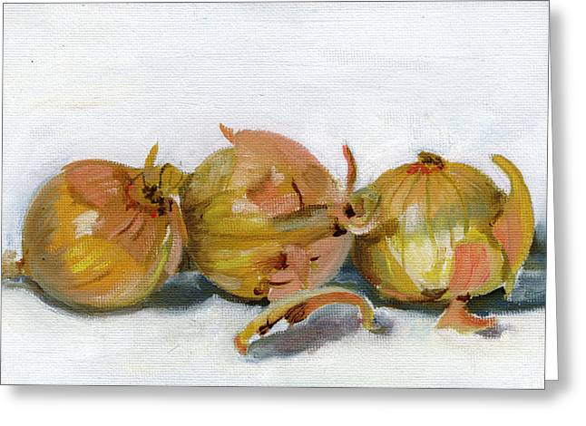 Three Onions Greeting Card by Sarah Lynch
