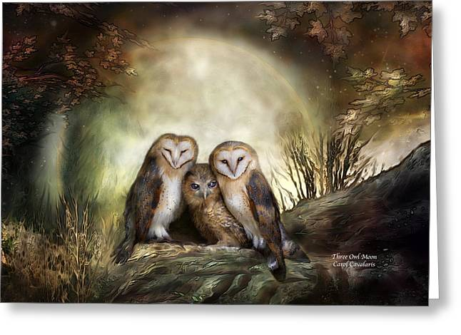 Nature Mixed Media Greeting Cards - Three Owl Moon Greeting Card by Carol Cavalaris