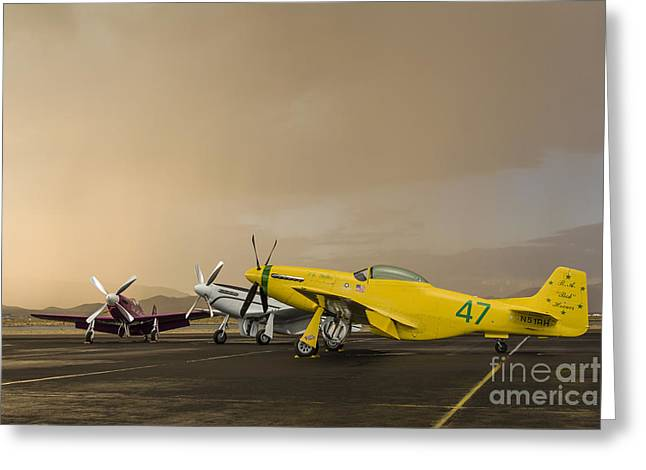 National Championship Greeting Cards - Three P-51 Mustangs Parked On The Ramp Greeting Card by Rob Edgcumbe
