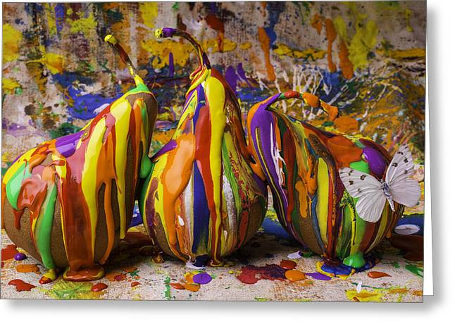 Moist Greeting Cards - Three Painted Pears And Butterfly Greeting Card by Garry Gay