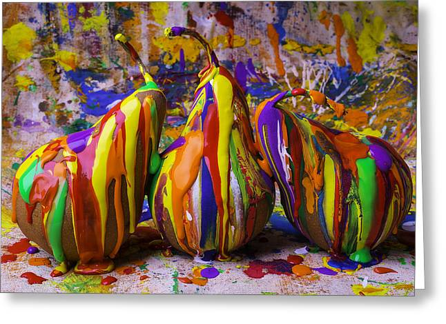 Dripping Paint Greeting Cards - Three Painted Pears Greeting Card by Garry Gay