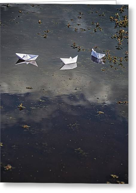 Toy Boat Greeting Cards - Three Paper Boats Greeting Card by Joana Kruse