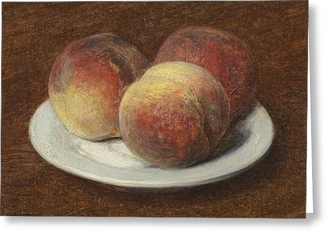 Three Peaches On A Plate Greeting Card by Ignace Henri Jean Fantin-Latour