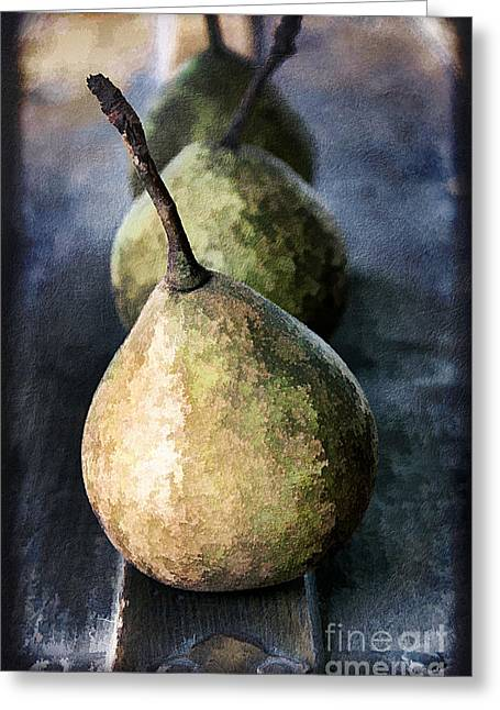 Three Pears Greeting Card by Darren Fisher