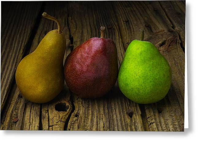 Three Pears Greeting Card by Garry Gay