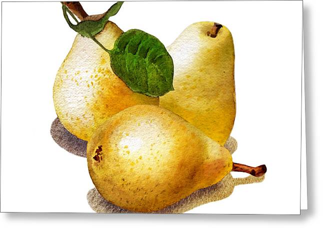 Country Kitchen Greeting Cards - Three Pears Greeting Card by Irina Sztukowski