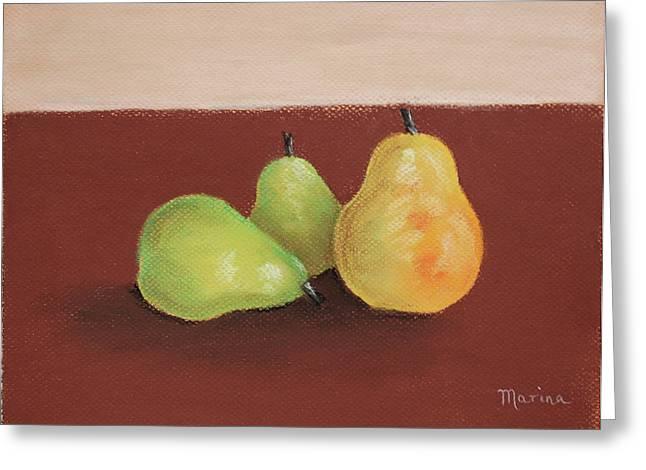 Three Pears Greeting Card by Marina Garrison