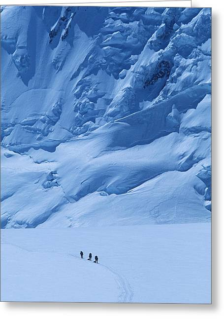 30-35 Years Greeting Cards - Three People Skiing Up The Kahiltna Greeting Card by Bill Hatcher