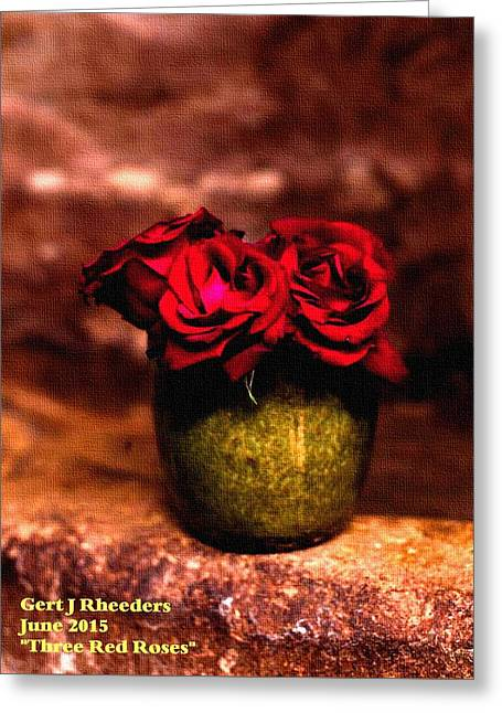 Abstract Digital Pastels Greeting Cards - Three Red Roses H a Greeting Card by Gert J Rheeders