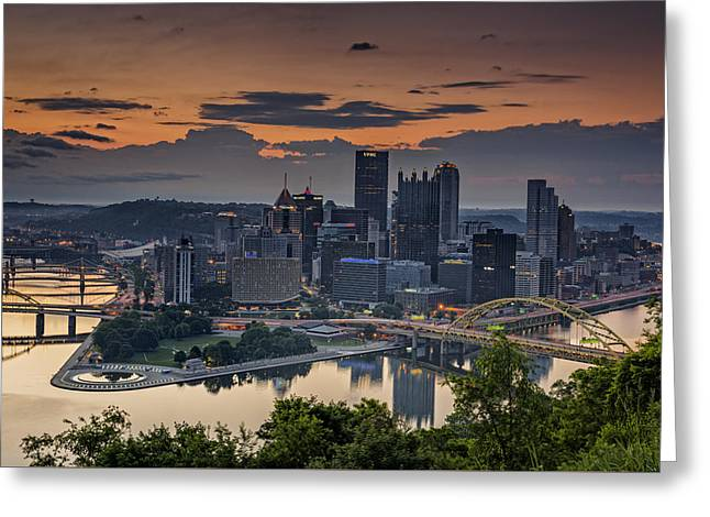 Three Rivers Sunrise Greeting Card by Rick Berk