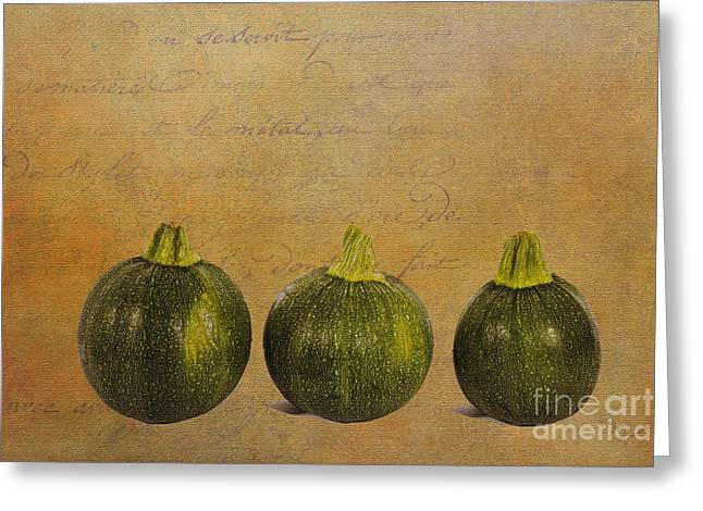Local Food Greeting Cards - Three Round Squash Greeting Card by Diane Macdonald