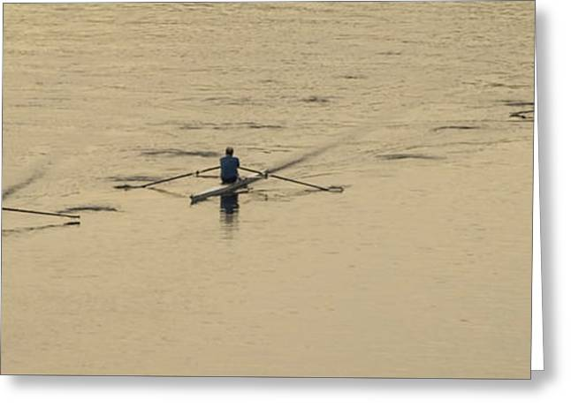 Three Rowers On The Schuylkill  Greeting Card by Bill Cannon