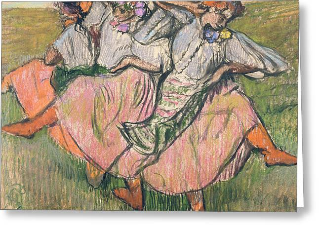 Dancing Girl Pastels Greeting Cards - Three Russian Dancers Greeting Card by Edgar Degas