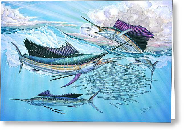 Slam Greeting Cards - Three sailfish and bait ball Greeting Card by Terry  Fox