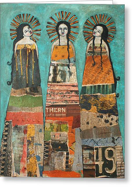Three Saints Greeting Card by Jane Spakowsky