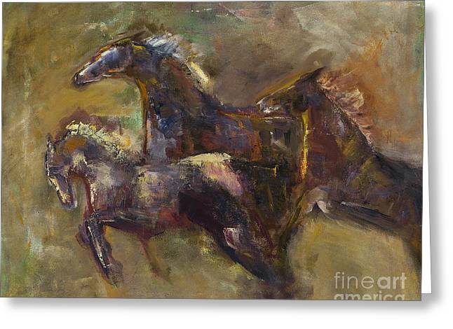 Horse Herd Greeting Cards - Three Set Free Greeting Card by Frances Marino