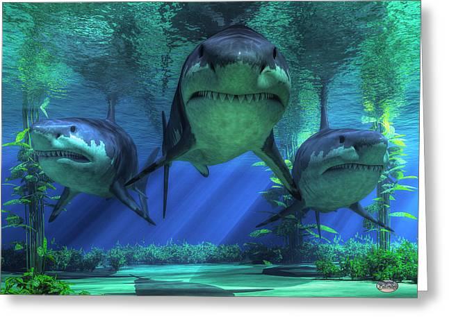 Fish Digital Art Greeting Cards - Three Sharks Greeting Card by Daniel Eskridge
