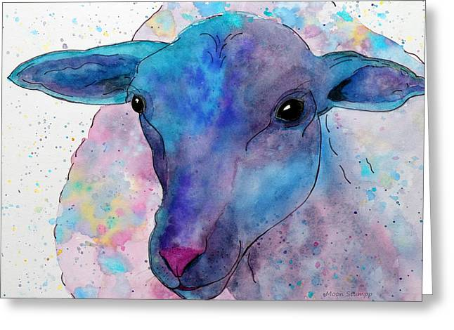 Three Sheep,  3 Of 3 Greeting Card by Moon Stumpp