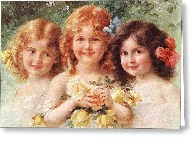 Puppies Digital Greeting Cards - Three Sisters Greeting Card by Emile Vernon