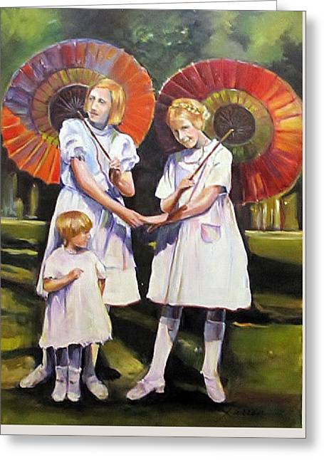 Dress Greeting Cards - Three sisters Greeting Card by Karren Reyburn