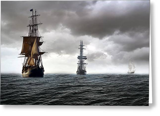 Pirate Ship Greeting Cards - Three Sisters Greeting Card by Peter Chilelli