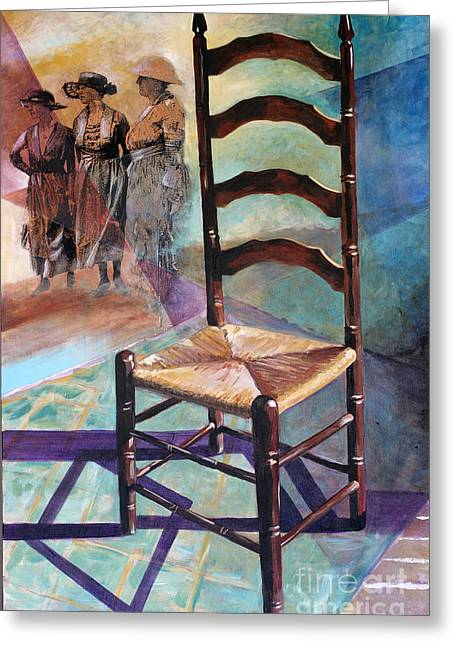 Ladder Back Chairs Greeting Cards - Three Sisters Greeting Card by Rebecca Myers
