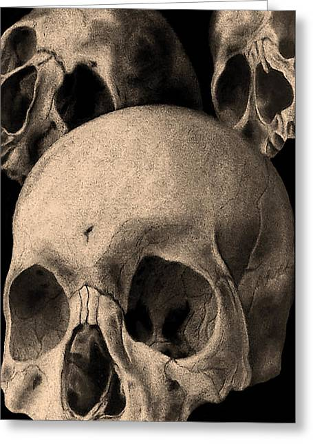 Morphed Drawings Greeting Cards - Three skulls are better than one Greeting Card by Phil Spaulding