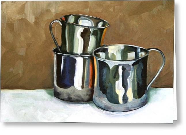 Three Sterling Cups Greeting Card by Amy Higgins