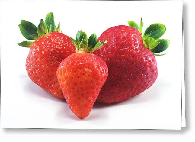 Www Greeting Cards Greeting Cards - Three Strawberries Greeting Card by Chris Day