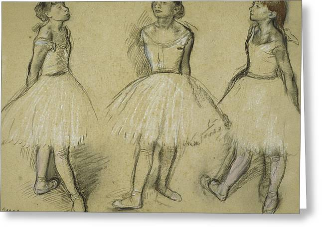 Three Studies Of A Dancer In Fourth Position Greeting Card by Edgar Degas