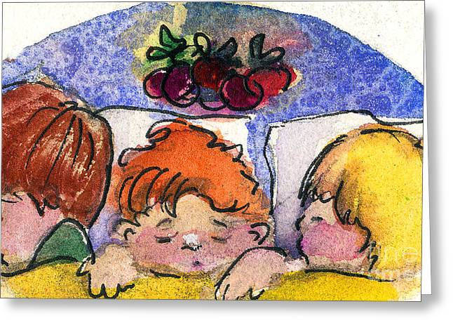 Christ Child Mixed Media Greeting Cards - Three Sugar Plum Dreamers Greeting Card by Mindy Newman