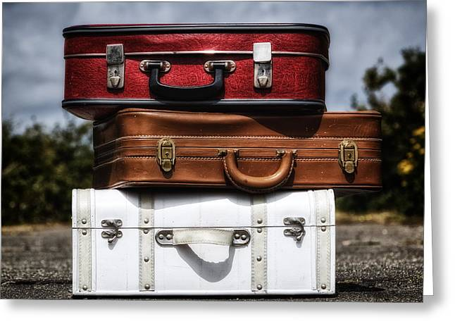 Baggage Greeting Cards - Three Suitcases Greeting Card by Joana Kruse