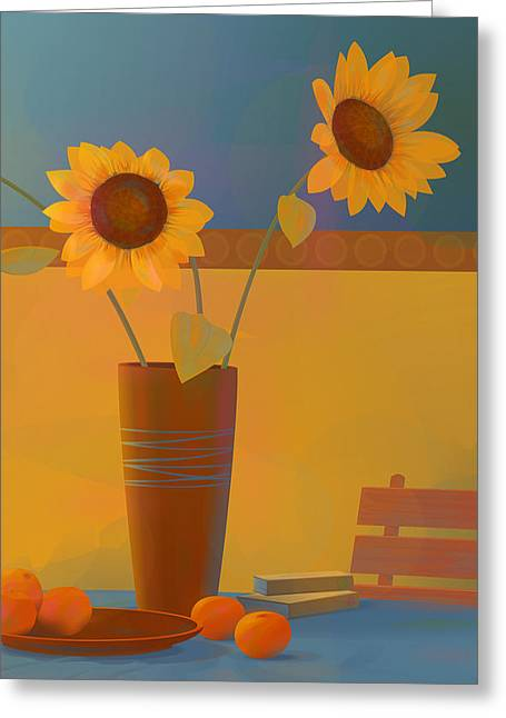 Pause Greeting Cards - Three sunflowers Greeting Card by Adam Gaba