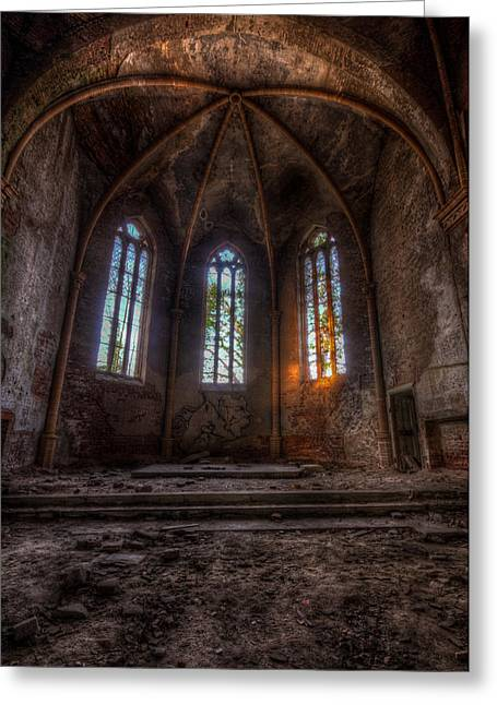 Ghostly Greeting Cards - Three tall arches Greeting Card by Nathan Wright