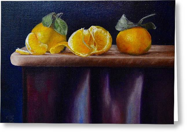 Tangerines Greeting Cards - Three tangerines Greeting Card by Ralph Taeger