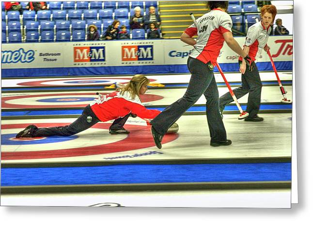 Curling Greeting Cards - Three Times World Champions Greeting Card by Lawrence Christopher