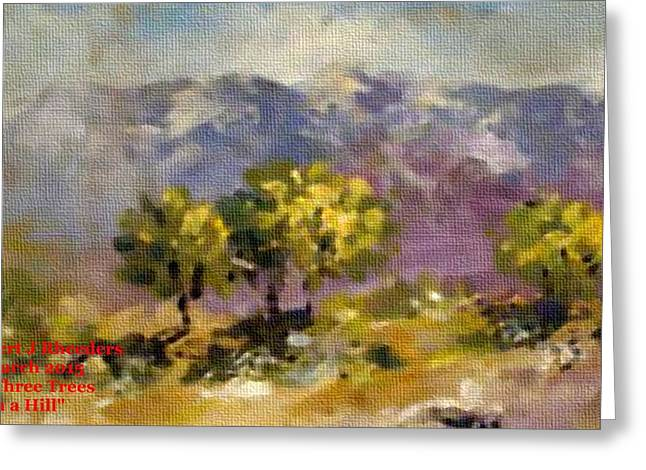 Abstract Digital Pastels Greeting Cards - Three Trees on a Hill H a Greeting Card by Gert J Rheeders