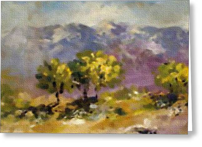 Message Pastels Greeting Cards - Three Trees on a Hill H b Greeting Card by Gert J Rheeders