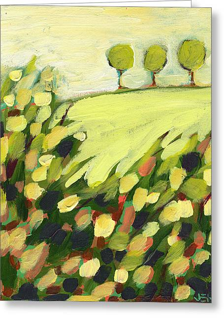 Green Abstract Greeting Cards - Three Trees on a Hill Greeting Card by Jennifer Lommers