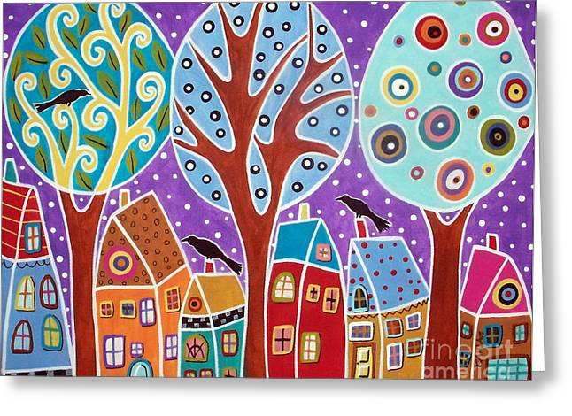 Blackbirds Greeting Cards - Three Trees Three Birds And Six Houses Greeting Card by Karla Gerard
