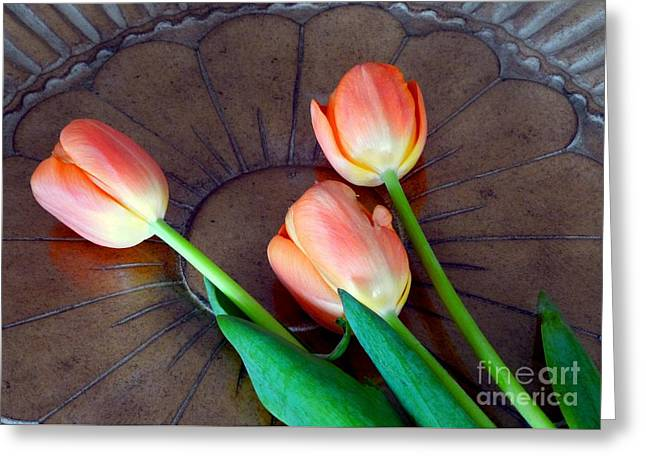 Tabletop Greeting Cards - Three Tulips on the Table Greeting Card by Barbie Corbett-Newmin