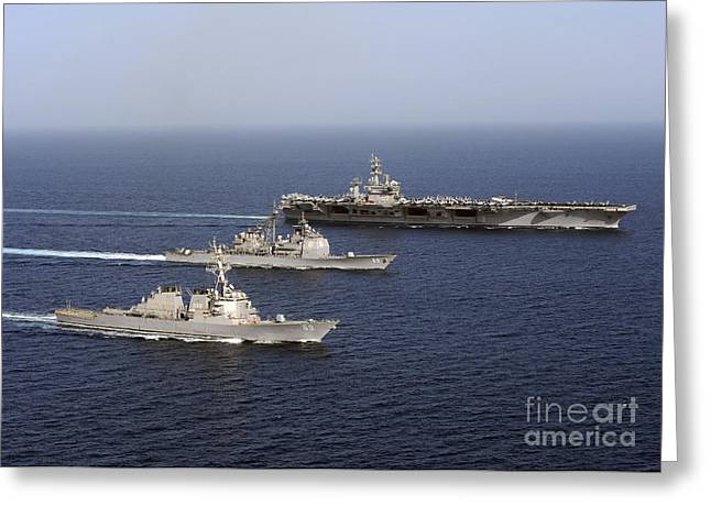Arabian Sea Greeting Cards - Three U.s. Navy Ships Sail In Formation Greeting Card by Stocktrek Images