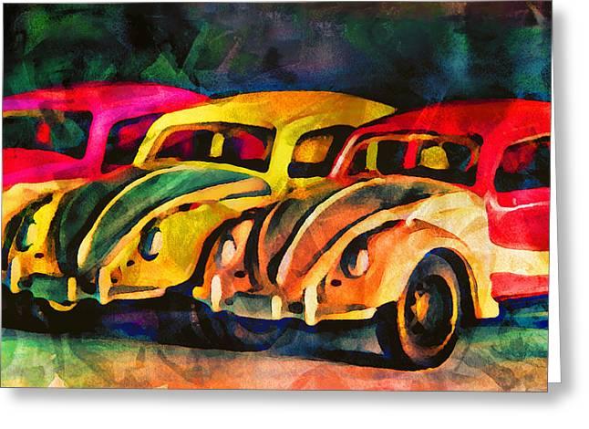 Three Volkswagens Greeting Card by Jeff  Gettis