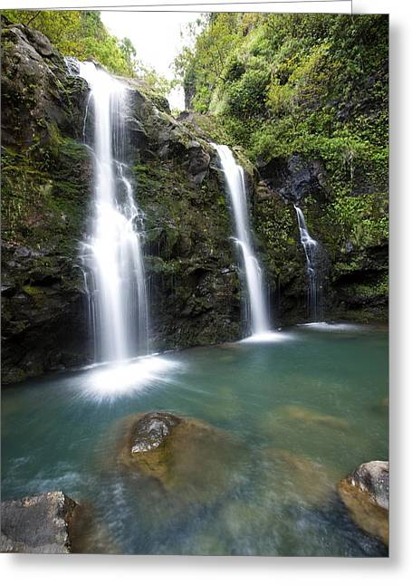 Hawaiian Pond Greeting Cards - Three Waikani Falls V Greeting Card by Jenna Szerlag